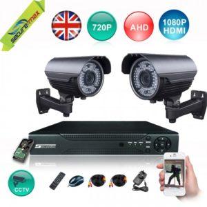 AHD 4 CHANNEL 1280Hx720V DVR 720P CCTV CAMERAS 2 KIT-772