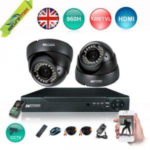 4 CHANNEL 1080P 960H DVR BLACK SECURITY CAMERAS 2 KIT